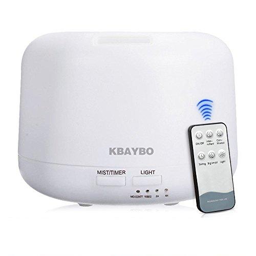 KBAYBO 300ml Control Remoto Difusor de Aceite Esencial Humidificador Ultrasónico con 4 opciones de temporizador y LED de 7 colores que cambian para Dormitorio, Oficina, Salón, Estudio, Yoga y SPA