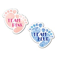 48 x Baby Footprint Shaped Stickers - 24 x Team Pink & 24 x Team Blue - For Baby Showers & Gender Reveal Party