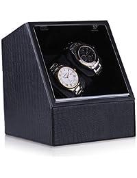 CRITIRON 2 Automatic Watch Winder PU Leather 4 Rotation Modes Dual Watches Storage Display Case Box Black