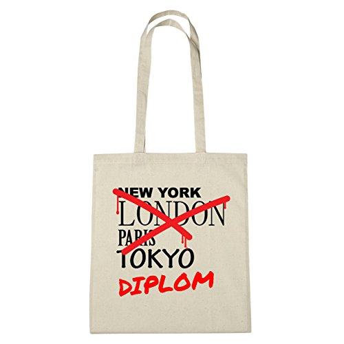 JOllify Diploma Borsa di cotone b6099 schwarz: New York, London, Paris, Tokyo natur: Graffiti Streetart New York