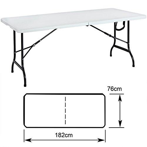 Tisch klappbar Kunststoff weiß 76×182 cm Partytisch Buffettisch Klapptisch - 5