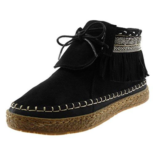 Angkorly - Damen Schuhe Stiefeletten - Mokassin Stiefel - Folk - Fransen - Fantasy - Bestickt Flache Ferse 2 cm - Schwarz M862 T 38