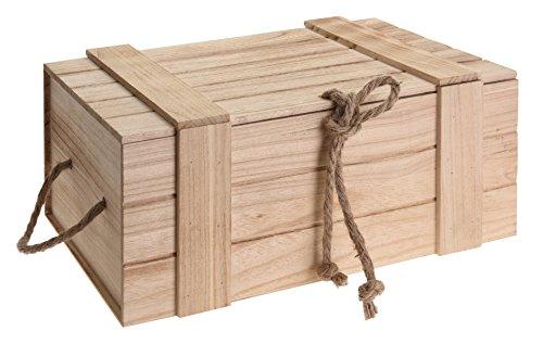 Meinposten Holzkiste mit Deckel Kiste Schatzkiste Schatztruhe Holzkasten Holz braun Truhe mit Deckel (H 15 x B 36 x T 26 cm)