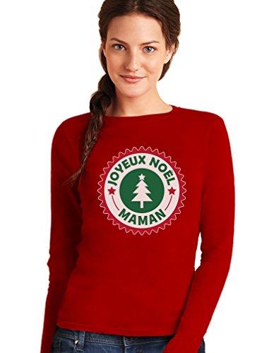 Joyeux Maman Pull Familial Set T-Shirt Manches Longues Femme Rouge