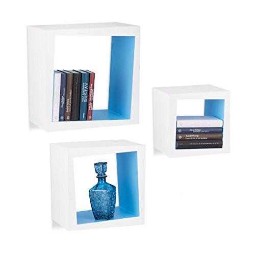 Relaxdays 10021922_361 set 3 mensole da parete per soggiorno, cameretta, ripiani per dvd, cd, libri, decorative, profondità 25 cm, bianco-blu