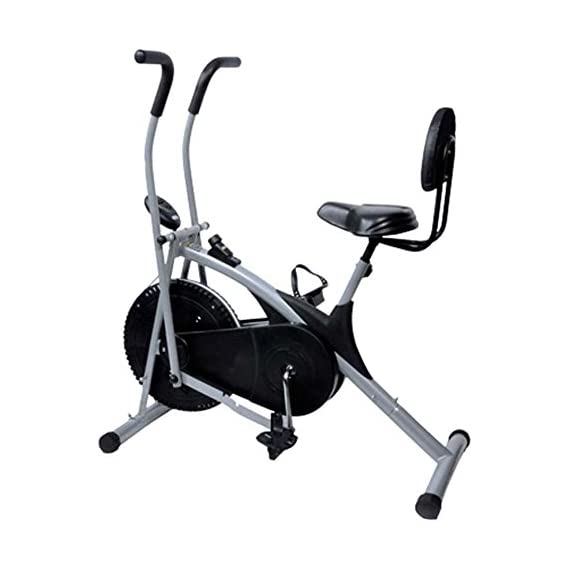 Healthex Unisex Exercise Cycle for Weight Loss at Home with Back Support || Air Bike Stamina with Moving Handle (ST004)