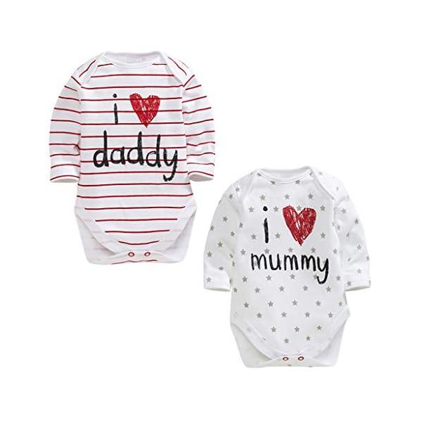 MAYOGO Mameluco Bebe Ropa Bebe Te Quiero Mama Mangas Largo Disfraz Bebe Niña Raya Ropa para Bebes Recien Nacidos Pelele… 2