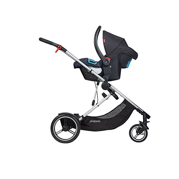 phil&teds Voyager Buggy Pushchair, Black phil&teds 4-in-1 modular seat! the most adaptable seat yet with four modes, parent facing, forward facing, lie Revolutionary stand fold with 2 seats on. Adjustable handlebar with hand-mounted brake Double kit easily converts to lie flat mode as well. 5