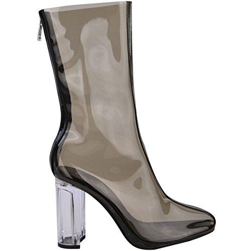 Donna Stivali Caviglia Donna Perspex Trasparente A Blocco Tacco Alto Da Festa Scarpe Alla Moda Numero Nero Fumè / TRASPARENTE tacco