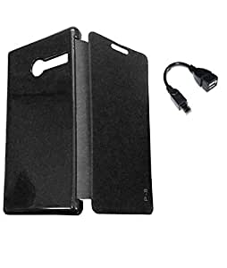 RealDealz Durable Pu Leather Flip Cover For Lava Flair P8 (Black)+OTG Cable Free