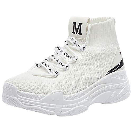 Sportschuhe High Top Turnschuhe Damen Hip-Hop Schuhe Hohe Atmungsaktive Freizeitschuhe Warme Flache Sneaker Plateauschuhe Mesh Socken Hohe Schuhe, Weiß