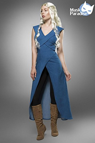 Mother of Dragons Damen Kostüm für Daenerys und Game of Thrones Fans 3tlg blau schwarz - M