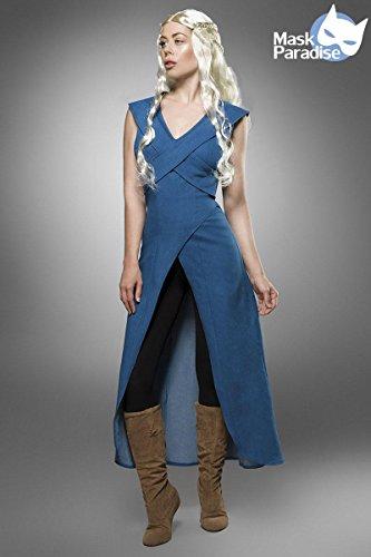 Mother of Dragons Damen Kostüm für Daenerys und Game of Thrones Fans 3tlg blau schwarz - M (Game Of Thrones Tyrion Lannister Kostüm)