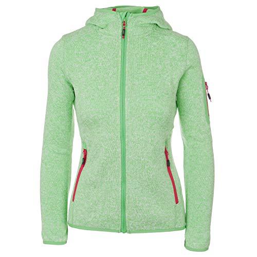 Fleece Hoody Jacke (Strickfleecejacke Damen CMP Outdoor Fleecejacke dünn Sweatjacke mit Kapuze Strickjacke große Größen Kiara II, Größe:40, Farbe:Apfelgrün-Magenta)