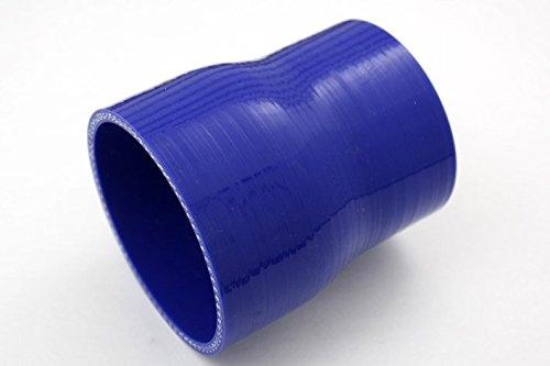 "Emotion Universal Silicone Hose, Reducer Coupler, ID 2.5"" to 2"" (64 to 51mm), Length 3"" (76mm), Wall Thickness 0.16"" (4mm), 3-PLY, Blue Test"