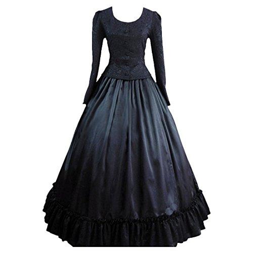Partiss Frauen Schwarze viktorianische Gotik Ghost Schwarz Hexe Halloween Kostuem,L,Black
