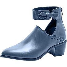 Darringls_Zapatos para Mujer,Botines Zapatos con Cremallera para Mujeres de la Moda Boca Baja Zapatos