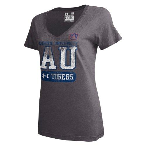 Auburn Damen T-shirt (Under Armour NCAA Damen T-Shirt Auburn Tigers Charged Cotton V-Neck Tee, Damen, Carbon Heather, X-Small)