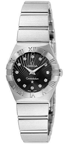 OMEGA Wrist Watches Constellation Black Dial Diamond 100M Waterproof 123.10.24.60.51.001 Women's