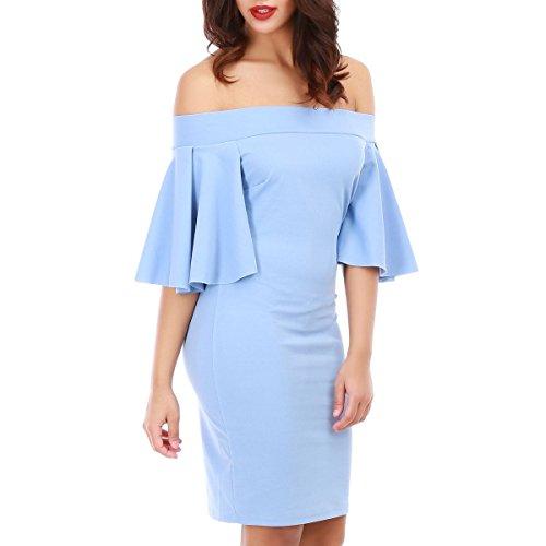 La Modeuse - Robe courte femme à épaules dénudées Bleu Clair