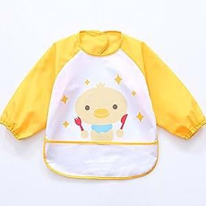 Oral-Q Unisex Bambini Arts Craft pittura grembiule bambino impermeabile Bavaglino con maniche e tasca, 6 - 36 mesi, B Giallo Pulcino (Set di 2)
