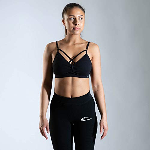 SMILODOX Sport Bra Jelly   Fitness-BH ohne Bügel   Herausnehmbare Cups   Bustier für Pilates Yoga Gym Fitness   Soft Büstenhalter, Farbe:Schwarz, Größe:S - 3