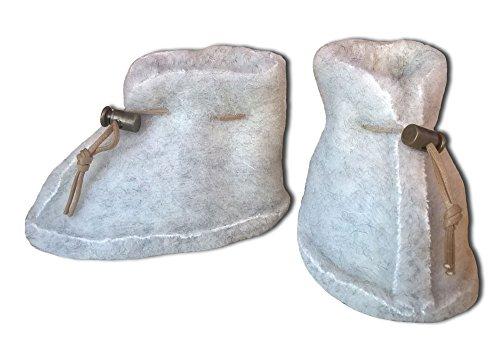 SamWo Babyschuhe 100% natürliche Schafwolle mit Schnellverschluss, Größe: S natur hellgrau