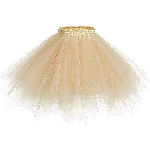 Caissen Damen Vintage Elastisch Puffy Tüll Tütü Röcke Petticoat Ballett Blase Ballkleid Mehrfarbengroß Unterröcke Champagner