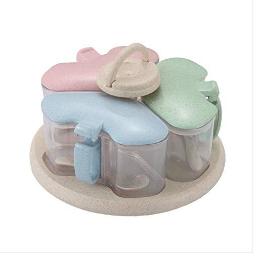 SDTING-Wheat Straw Plastic Rotating Seasoning Jar Set Kitchen Condiment Box Seasoning Box Set Cruet Salt Pepper Shakers Storage Box -