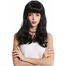 WIG ME UP ® - 90649-ZA103 Peluca Mujer Halloween Carnaval Largo Negro Flequillo Burlesque