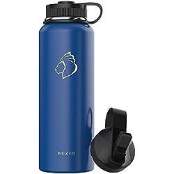 BUZIO Botella de Agua Aislamiento de 1000ml, con Tapa Flexible, a Prueba de Fugas, con Doble Pared, Boca Ancha y sin BPA, Azul