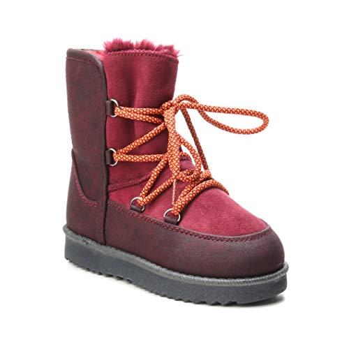 HERIXO Damen Baby Kinder Mädchen Junge Schuhe Winter-Boots Snowboots Schnee Fell-Stiefel warm dick gefüttert Futter Schlupfstiefel geschnürt Schnürung Sohle Kunst-Pelz(35 EU,Red)