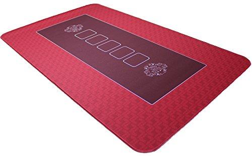 Profi Pokermatte rot in 100 x 60cm von Bullets Playing Cards für den eigenen Pokertisch - Deluxe Pokertuch - Pokerteppich - Pokertischauflage - ideal als Test
