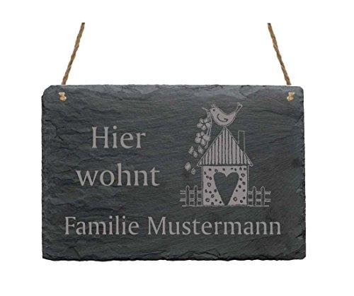 Schiefertafel « Hier wohnt Familie - IHR NAME - » mit Motiv Vogelhaus - Türschild Klingelschild Namensschild - Größe ca. 22 x 16 cm