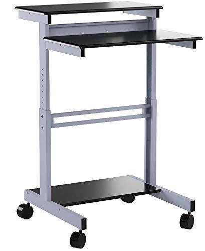 Mobiler ergonomischer Stand-up-Computerschreibtisch (Schwarz, Schreibtisch Länge: 80cm)
