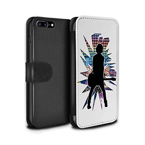 Stuff4 Coque/Etui/Housse Cuir PU Case/Cover pour Apple iPhone 7 Plus / étendre Noir Design / Rock Star Pose Collection émotion Blanc