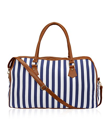 Kleio Striped Spacious Unisex Weekend Travel Duffle Bag for Women / Girls (Blue) (ECO2007KL-BU)
