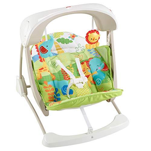 Mattel Fisher-Price CCN92 2 in 1 Babyschaukel im Regenwald Design, mit 6 Geschwindigkeitsstufen, 10 Melodien und 2 beruhigenden Naturgeräuschen