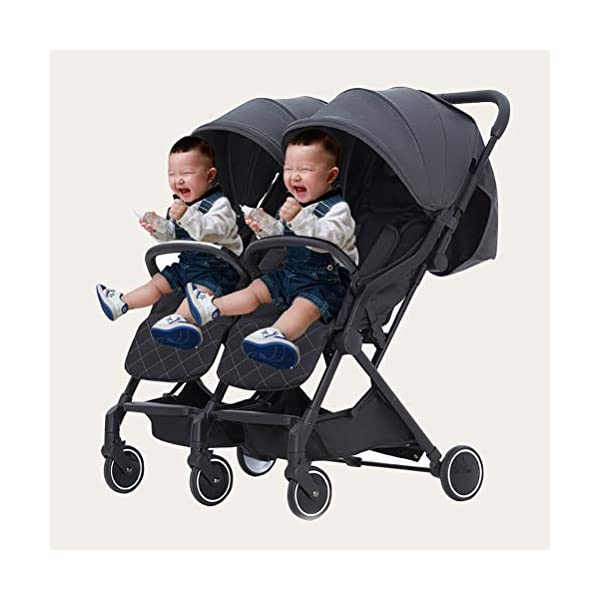 ZXYSR Double Stroller, Lightweight & Easy Folding Duo Baby Stroller with Side by Side Twin Seats, 5-Point Safety Harness, Suitable for 6 Months To 3 Years, Gray ZXYSR ★LIGHTWEIGHT - A lightweight stroller makes any outing a little easier! Convenience Stroller has a durable aluminum frame that weighs just 55 pounds and has a large seat area, plus anti-shock front wheels and lockable rear wheels. ★FOR TRAVEL AND EVERYDAY TRAVEL STROLLER- Whether you're traveling or just on the go running everyday errands, having a lightweight, compact stroller is a must! With this one easy to use stroller, you'll have both an everyday and travel stroller option. ★ MULTI POSITION RECLINING SEAT- Keep your little one comfortable and safe at all times with the 2 position recline and easily adjust for baby's comfort; large storage basket and two integrated seatback pockets provide space for baby's extras; seat holds child up to 55 pounds and includes a 5 point stroller harness. Maximum weight of child for this toddler stroller: 55 pounds . 7
