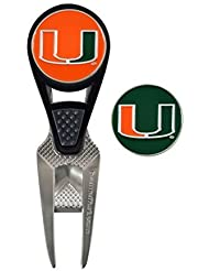 Miami Hurricanes CVX Golf Ball Mark Repair Tool and 2 Ball Markers by Team Effort Inc