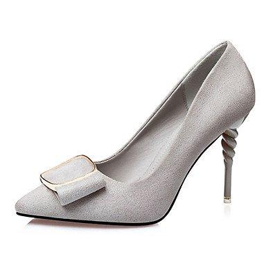 Moda Donna Sandali Sexy donna tacchi tacchi Estate Felpa casual Stiletto Heel Bowknot nero / rosso / grigio chiaro / Mandorla Altri gray
