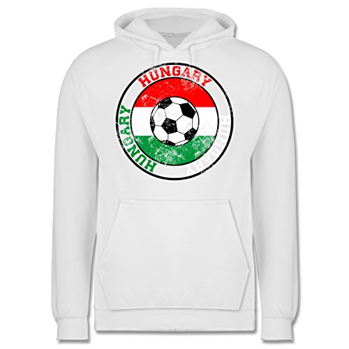 EM 2016 - Frankreich - Hungary Kreis & Fußball Vintage - Männer Premium Kapuzenpullover / Hoodie Weiß