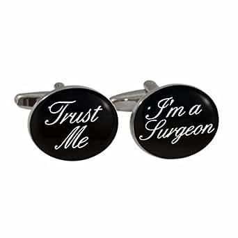 """1StopShops Paire de boutons de manchette avec inscription """"Trust Me I'm a surgeon"""" Livrée dans un coffret cadeau"""