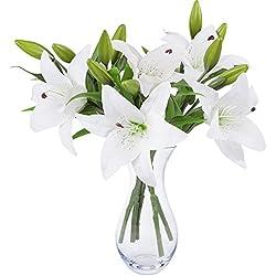 Weiße Lilie Bush künstliche Blume, NNIUK Lily Real Touch Parfüm-Lilien-Blumen-Blumenstrauß-Hochzeit/Graves/Vasen (5 Stück)