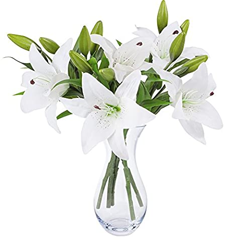 White Lily Bush Artificial Flower, NNIUK Lily Real Touch Lily Flower Bouquet