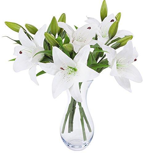 Weiße Lilie Bush künstliche Blume, NNIUK Lily Real Touch...