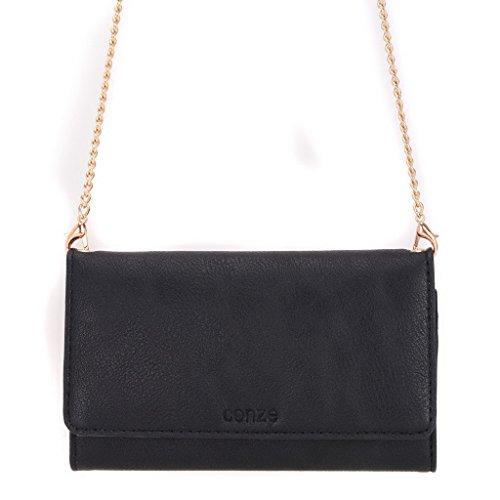 conze Fashion Téléphone portable petit sac de transport avec sangle croix corps pour Motorola Moto E Dual SIM/(2e génération) Black + Flower noir