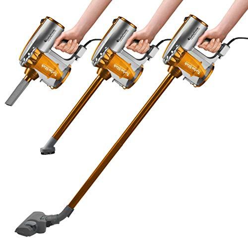 600 Watt Zyklon Staubsauger mit 7 Meter Kabel 2 in1 Handstaubsauger inklusive Wandhalterung, Bodenstaubsauger >14 kPa Saugleistung