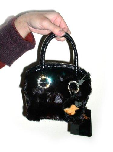 FursNewYork Ranch Mink Mini Tasche, mit Ringen strassbesetzt Ranch Mink