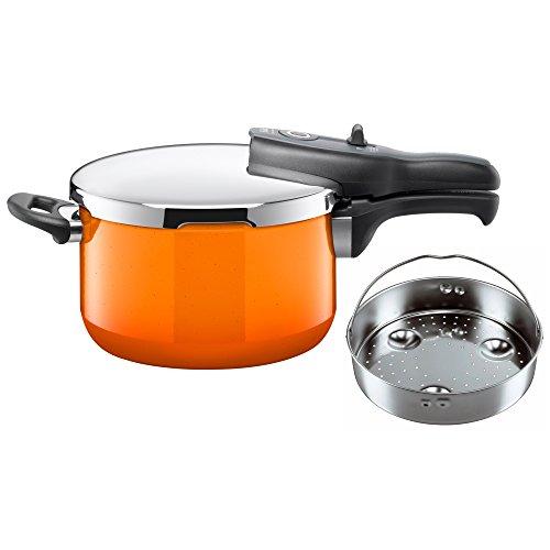 Silit Sicomatic t-Plus Schnellkochtopf 4,5l mit Einsatz, Silargan Funktionskeramik, 3 Kochstufen Einhand-Kochstufenregler induktionsgeeignet, spülmaschinengeeignet, Orange, Ø 22 cm